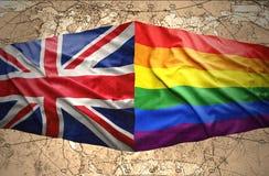 Βρετανοί και σημαίες ουράνιων τόξων Στοκ φωτογραφίες με δικαίωμα ελεύθερης χρήσης