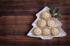 Βρετανοί κομματιάζουν τις πίτες σε ένα διαμορφωμένο πιάτο χριστουγεννιάτικων δέντρων Στοκ φωτογραφία με δικαίωμα ελεύθερης χρήσης
