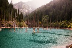 βροχή βουνών λιμνών στοκ φωτογραφία
