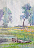 Βροχή εικόνων ` που φωνάζει ` Καμβάς, πετρέλαιο Στοκ εικόνα με δικαίωμα ελεύθερης χρήσης