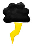 Βροχή και άργιλος plasticine συμβόλων εικονιδίων πρόγνωσης καιρού βροντής Στοκ Εικόνες