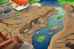 Βροχή μουσώνα με συνέπεια την πλημμύρα και τη κατολίσθηση λάσπης διανυσματική απεικόνιση