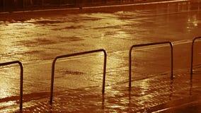 Βροχή νύχτας και κυκλοφορία αυτοκινήτων Άνευ ραφής βρόχος φιλμ μικρού μήκους