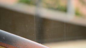 Βροχή που αφορά μια στέγη κεραμιδιών φιλμ μικρού μήκους