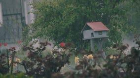 Βροχή που εμπίπτει σκληρά στο πάρκο σε λίγο ξύλινο σπίτι απόθεμα βίντεο