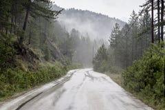 Βροχή σε έναν δρόμο βουνών Στοκ Εικόνα