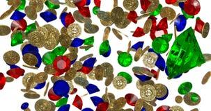 Βροχή των εκλεκτής ποιότητας χρυσών νομισμάτων τρισδιάστατος δώστε στοκ εικόνα