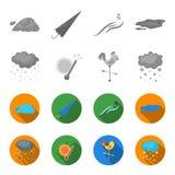 Βροχή, χιόνι, θερμότητα, weathervane Τα εικονίδια καιρικής καθορισμένα συλλογής στο μονοχρωματικό, επίπεδο απόθεμα συμβόλων ύφους Στοκ εικόνες με δικαίωμα ελεύθερης χρήσης
