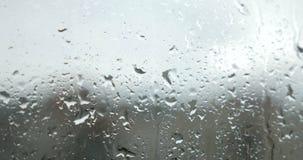 Βροχερές πτώσεις στο παράθυρο απόθεμα βίντεο
