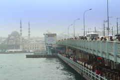 Βροχερή ημέρα άποψης γεφυρών της Ιστανμπούλ Στοκ εικόνα με δικαίωμα ελεύθερης χρήσης