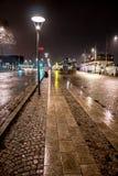 Βροχερή νύχτα, Strandvägen, Στοκχόλμη, Σουηδία, τον Ιανουάριο του 2018 στοκ εικόνες