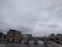 Βροχερή πόλη - Σκόπια Στοκ Εικόνα