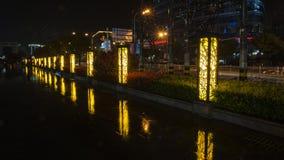 Βροχερός δρόμος ποταμών Jinsha νύχτας Στοκ εικόνες με δικαίωμα ελεύθερης χρήσης