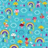 Βροχερό άνευ ραφής σχέδιο ουρανού σαλιγκαριών σταγόνων βροχής ομπρελών ουράνιων τόξων ημέρας Στοκ Εικόνες