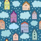 Βροχερό διανυσματικό άνευ ραφής σχέδιο πόλεων Στοκ Φωτογραφίες