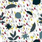 Βροχερό σχέδιο με το γκρι και το μπλε ομπρελών Στοκ φωτογραφία με δικαίωμα ελεύθερης χρήσης