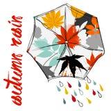 Βροχερό φθινόπωρο με την ομπρέλα Εποχή των βροχών βροχή Στοκ εικόνα με δικαίωμα ελεύθερης χρήσης
