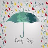 Βροχερό φθινόπωρο με την ομπρέλα Εποχή των βροχών βροχή Στοκ Εικόνες