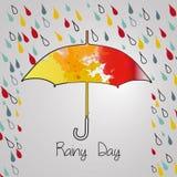 Βροχερό φθινόπωρο με την ομπρέλα Εποχή των βροχών βροχή Στοκ Φωτογραφίες