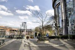 Βρυξέλλες, Βέλγιο - 10 Απριλίου 2018: Συσκευή φίλτρων βρύου τοίχων διαβίωσης αφαίρεσης ρύπανσης CityTree που εγκαθίσταται στο Ευρ Στοκ εικόνες με δικαίωμα ελεύθερης χρήσης