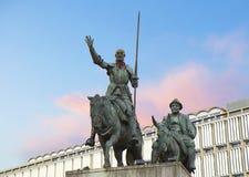 Βρυξέλλες, Βέλγιο, μνημείο για να φορέσει Δον Κιχώτης και Sancho Panso Στοκ Εικόνες