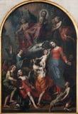 Βρυξέλλες - ιερή τριάδα, η Virgin Mary και ST John το βαπτιστικό χρώμα Στοκ Φωτογραφίες