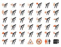 Βρωμαήστε το σύνολο εικονιδίων ασθενών Στοκ εικόνα με δικαίωμα ελεύθερης χρήσης