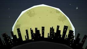 Βρόχος εικονικής παράστασης πόλης τη νύχτα απεικόνιση αποθεμάτων