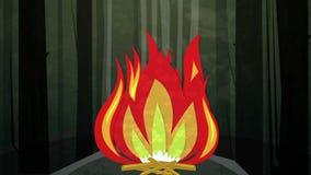 Βρόχος νύχτας πυρκαγιάς στρατόπεδων απεικόνιση αποθεμάτων