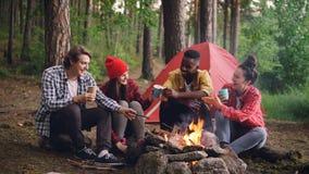 Βρόχος Cinemagraph - η πολυφυλετική ομάδα φίλων καυκάσιων και ο αφροαμερικάνος κάθονται στο ξύλο γύρω από την πυρκαγιά με απόθεμα βίντεο