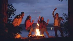 Βρόχος Cinemagraph - η χαρούμενη multiethnic ομάδα φίλων χορεύει γύρω από την πυρκαγιά στο δάσος κατά τη διάρκεια του ταξιδιού Σα απόθεμα βίντεο