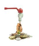 Βρύση με τα χρήματα που αφορούν ένα άσπρο υπόβαθρο στοκ φωτογραφία με δικαίωμα ελεύθερης χρήσης