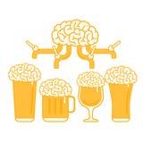 Βρύση μπύρας εγκεφάλου και διάφοροι τύποι γυαλιών στοκ εικόνες