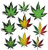 Βρώμικα γραμματόσημα φύλλων καννάβεων ganja μαριχουάνα Στοκ Εικόνες