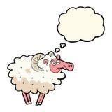 βρώμικα πρόβατα κινούμενων σχεδίων με τη σκεπτόμενη φυσαλίδα Στοκ Φωτογραφία