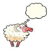 βρώμικα πρόβατα κινούμενων σχεδίων με τη σκεπτόμενη φυσαλίδα Στοκ Εικόνες