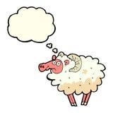 βρώμικα πρόβατα κινούμενων σχεδίων με τη σκεπτόμενη φυσαλίδα Στοκ φωτογραφία με δικαίωμα ελεύθερης χρήσης