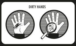 βρώμικα χέρια Υγιεινή χεριών Μαύρα & άσπρα επίπεδα διανυσματικά εικονίδια διανυσματική απεικόνιση