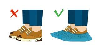 Βρώμικες παπούτσια και καλύψεις παπουτσιών επίσης corel σύρετε το διάνυσμα απεικόνισης στοκ φωτογραφία με δικαίωμα ελεύθερης χρήσης