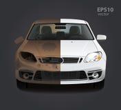Βρώμικη επισκευή αυτοκινήτων σκουριάς πριν και μετά στοκ εικόνες
