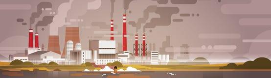 Βρώμικος αέρας αποβλήτων σωλήνων εγκαταστάσεων ρύπανσης φύσης και μολυσμένο νερό περιβάλλον διανυσματική απεικόνιση