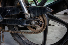 βρώμικος αλυσσοτροχός της μοτοσικλέτας Στοκ Φωτογραφία