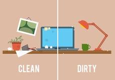 Βρώμικος και καθαρός πίνακας εργασίας ελεύθερη απεικόνιση δικαιώματος