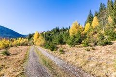 Βρώμικος δρόμος φθινοπώρου στα βουνά Στοκ Φωτογραφία