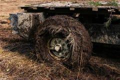 Βρώμικος στενός επάνω ροδών αυτοκινήτων Πλαϊνό την άνοιξη δάσος στοκ εικόνες με δικαίωμα ελεύθερης χρήσης
