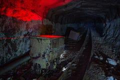Βρώμικο εγκαταλειμμένο ορυχείο ουράνιου με τη σκουριασμένα ράγα και το καροτσάκι στοκ εικόνες