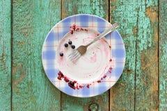 Βρώμικο πιάτο με τα φρέσκα βακκίνια που αφήνονται στο τυρκουάζ υπόβαθρο Στοκ Φωτογραφία