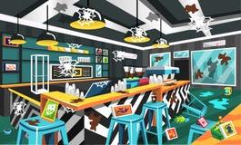 Βρώμικο σύγχρονο ύφος καφετεριών με το φουτουριστικό πίνακα, ηλεκτρική μηχανή κατασκευαστών καφέ, ανώτατοι λαμπτήρες, τέχνη εικόν απεικόνιση αποθεμάτων