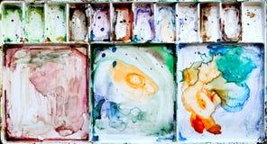 βρώμικο watercolor παλετών ζωγραφ&iot Στοκ εικόνα με δικαίωμα ελεύθερης χρήσης