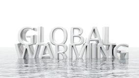 Βυθίζοντας τρισδιάστατο κείμενο υπερθέρμανσης του πλανήτη Στοκ Φωτογραφίες